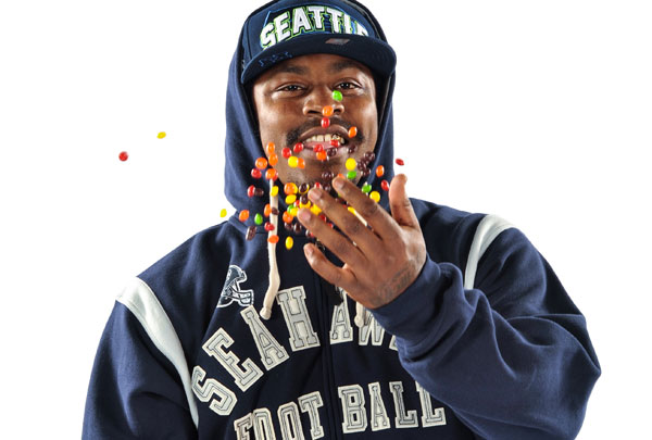 Marshawn Lynch Fuels the Rainbow for Skittles
